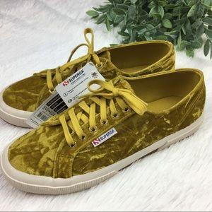 Superga Crushed Velvet Mustard Color Shoes